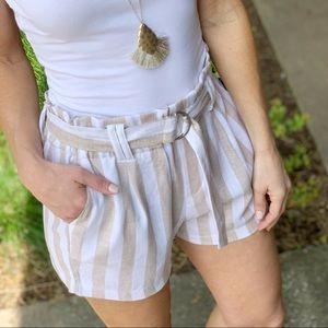 Infinity Raine Shorts - ✨RESTOCKED✨Khaki striped linen shorts
